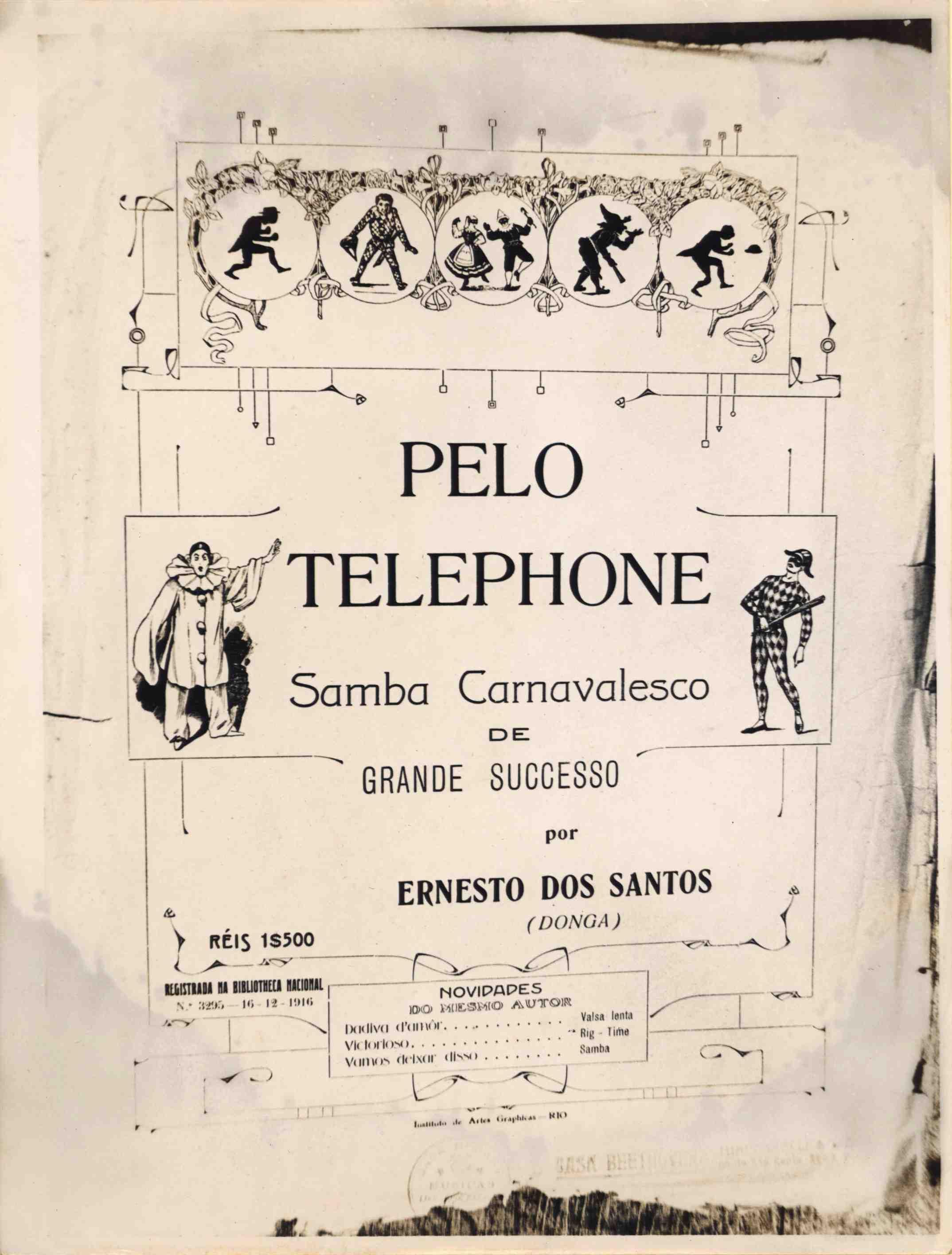 """Capa da partitura do samba carnavalesco """"Pelo telefone"""", de Donga e Mauro de Almeida (a partitura não traz o nome deste último) (IMS_JRT_donga04 / Acervo Tinhorão / IMS)"""